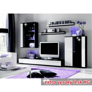 Obývacia stena, s LED osvetlením, biela / čierna extra vysoký lesk HG, CANES NEW