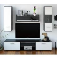 Obývacia stena, čierna / biela, WAW