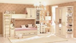 Detská izba s poschodovou posteľou Sofia II - béžová/koža lento
