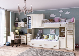 Detská izba s poschodovou posteľou Sofia I - béžová/koža lento