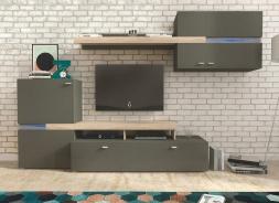 Obývacia stena JET grafit / sonoma