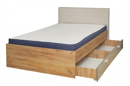 Študentská posteľ s úložným priestorom Ezra 120x200cm - dub zlatý/krémová/biela