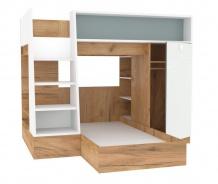 Detská poschodová posteľ Ezra 90x200cm - dub zlatý/modrá/biela