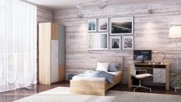 Malá detská izba Ezra - dub zlatý/modrá/biela