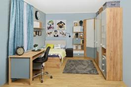Študentská izba Ezra - dub zlatý/modrá/biela