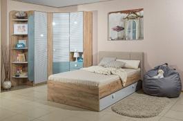 Izba pre študenta Ezra - dub zlatý/modrá/biela