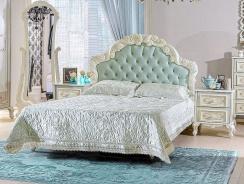 Manželská posteľ s roštom Margaret 160x200cm - alabaster/mintová