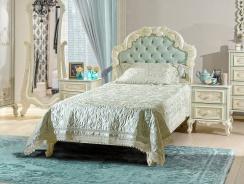 Detská posteľ s roštom Margaret 90x200cm - alabaster/mintová