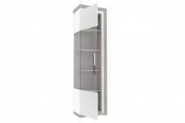 Vysoká vitrína ľavá Bastien - biela/dub šedý