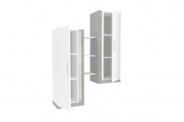 Dvojitá vitrína Bastien - biela/dub šedý
