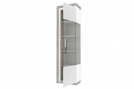 Vysoká vitrína pravá Bastien - biela/dub šedý