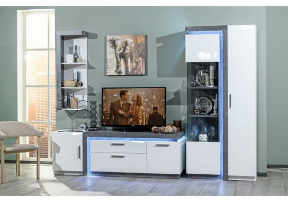 Obývačka Bastien - bílá/dub šedý