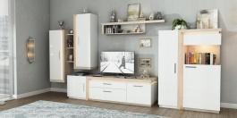 Obývačka Bastien - bílá/dub nelson