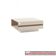 Konferenčný stolík, dub sonoma tvavý truflový / biela extra vysoký lesk HG, LYNATET TYP 70