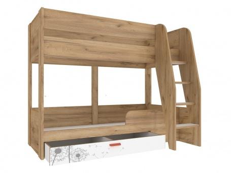 Detská poschodová posteľ s úložným priestorom Brody 80x190cm - dub zlatý/biela