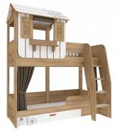 Detská poschodová posteľ s domčekom a úložným priestorom Brody 80x190cm - dub zlatý/biela