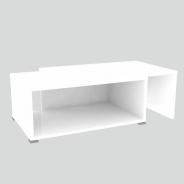 Konferenčný rozkladací stolík, biela / biela, DRON