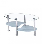 Konferenčný stolík, oceľ / číre sklo / mliečne sklá, WAVE NEW