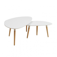 Set 2 konferenčných stolíkov, biela / buk, FOLKO