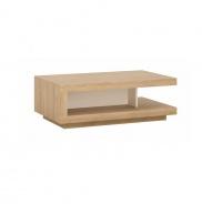 Konferenčný stolík LYOT01, dub riviéra / biela s extra vysokým leskom, LEONARDO