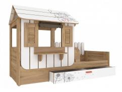 Detská posteľ s domčekom a úložným priestorom Brody 80x190cm - dub zlatý/biela