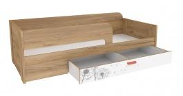 Detská posteľ s úložným priestorom Brody 80x190cm - dub zlatý/biela