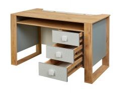 Písací stôl Ezra - dub zlatý/modrá/biela