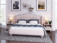 Čalúnená posteľ s úložným priestorom Coraline 160x200cm - béžovo/sivá