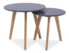 Konferenčné stolky - zostava MILAN S2 sivá / dub