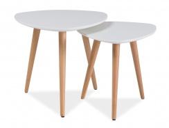 Konferenčné stolíky - komplet NOLAN A biela / buk