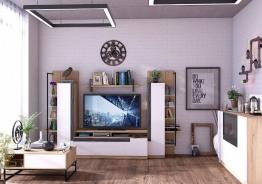 Obývacia izba Logan - dub zlatý/biely lesk