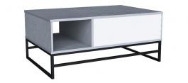 Konferenčný stolík Logan - dub šedý/biely lesk