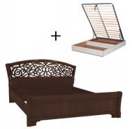 Manželská posteľ 140x200cm Sofia s ornamentálnym čelom, úľ. boxom a výklop. roštom - orech