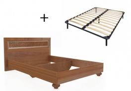 Manželská posteľ 140x200cm Sofia s klasickým čelom a ortopedickým roštom - orech