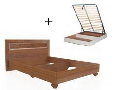 Manželská posteľ 140x200cm Sofia s klasickým čelom, úľ. boxom a výklop. roštom - orech