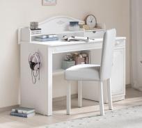 Písací stôl s malým nadstavcom Betty - biela/šedá
