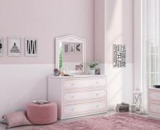 Široká komoda so zrkadlom Betty - biela/ružová