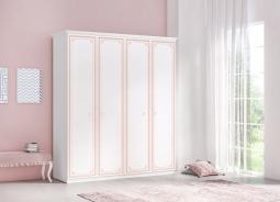 Štvordverová šatníková skriňa Betty - biela/ružová