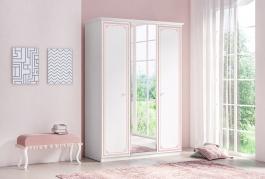 Trojdverová šatníková skriňa so zrkadlom Betty - biela/ružová