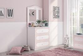 Zásuvková komoda so zrkadlom Betty - biela/ružová
