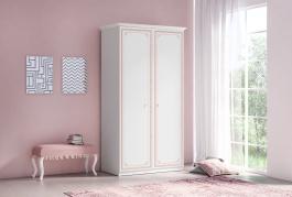 Dvojdverová šatníková skriňa Betty - biela/ružová