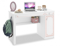 Písací stôl Betty - biela/ružová