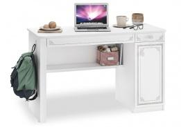 Písací stôl Betty - biela/šedá