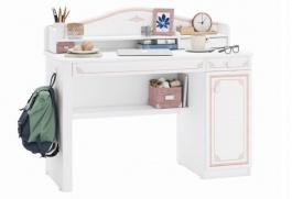 Písací stôl s malým nadstavcom Betty - biela/ružová