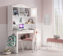 Písací stôl s nadstavcom Betty - biela/ružová