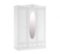 Trojdverová šatníková skriňa Ballerina so zrkadlom - biela
