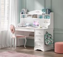 Písací stôl Ballerina s nástavcom - biela