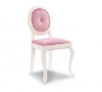 Rustikálna čalúnená stolička Ballerina - biela/ružova