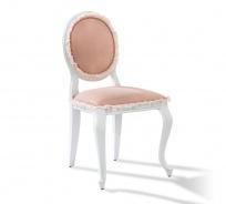 Rustikálna čalúnená stolička Ballerina - biela/lososová