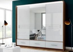 Šatníková skriňa AMSTERDAM 250L so zrkadlom biela